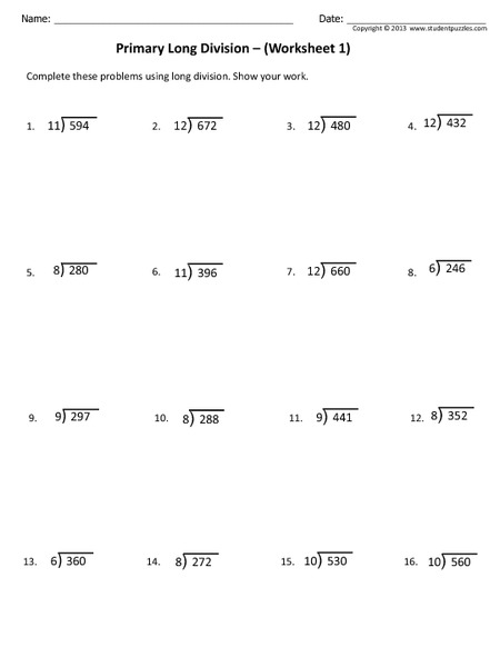 Primary Long Division Worksheet