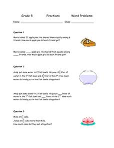 Grade 5 Fractions Word Problems Worksheet for 4th - 6th Grade ...