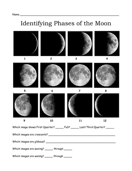 Identifying Phases Of The Moon Worksheet For 3rd 7th Grade