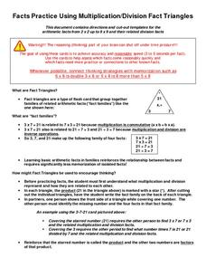 Facts Practice Using Multiplication/Division Fact Triangles Printables & Template