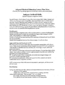 Adapted Physical Education: Softball Lesson Plan