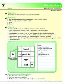 Vocabulary Morphemic Elements: Build-A-Word Activities & Project