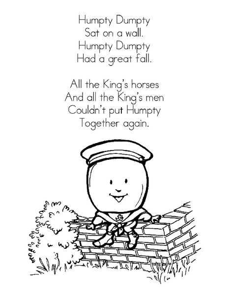 image about Humpty Dumpty Printable referred to as Nursery Rhyme Posters Printables Template for Pre-K