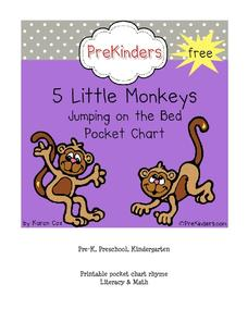 Five Little Monkeys Jumping on the Bed Pocket Chart Printables & Template