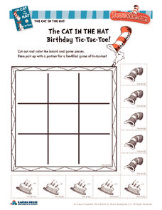 The Cat in the Hat Birthday Tic-Tac-Toe! Worksheet
