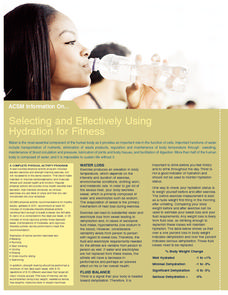 Selecting and Effectively Using Hydration for Fitness Handouts & Reference