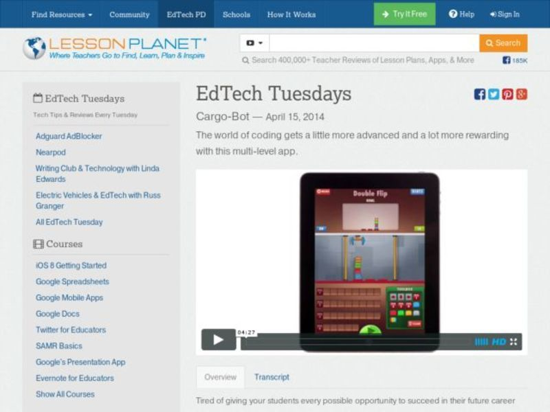 EdTech Tuesdays: Cargo-Bot Video