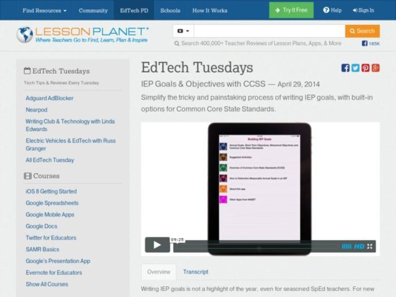 EdTech Tuesdays: IEP Goals & Objectives with CCSS Video