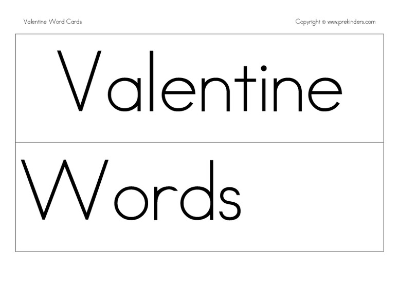 Valentine Picture Word Cards Printables & Template