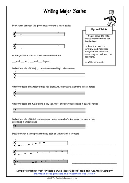 Writing Major Scales 2nd - 12th Grade Worksheet | Lesson Planet