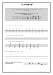 The Treble Clef 2nd - 12th Grade Worksheet   Lesson Planet