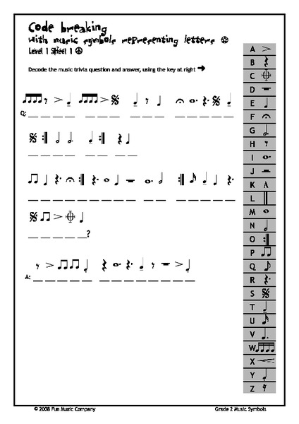 Code Breaking with Music Symbols Representing Letters 2nd - 12th ...