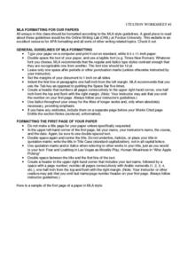 Citation Worksheet Handouts & Reference