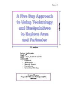 A Five Day Approach to Using Technology and Manipulatives to Explore Area and Perimeter Unit