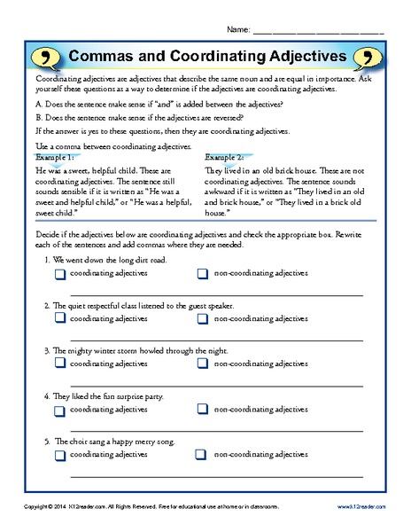 Commas and Coordinating Adjectives 4th - 8th Grade Worksheet ...