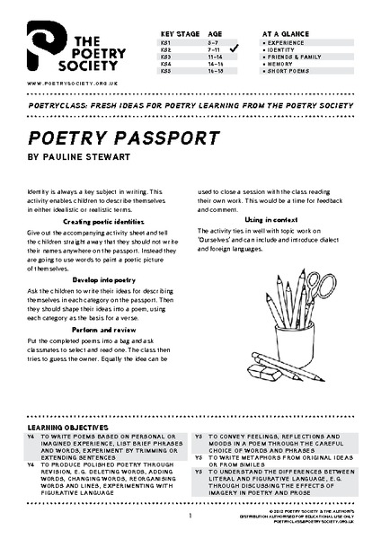 Poetry Passport Lesson Plan