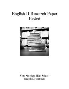 English II Research Paper Packet Activities & Project