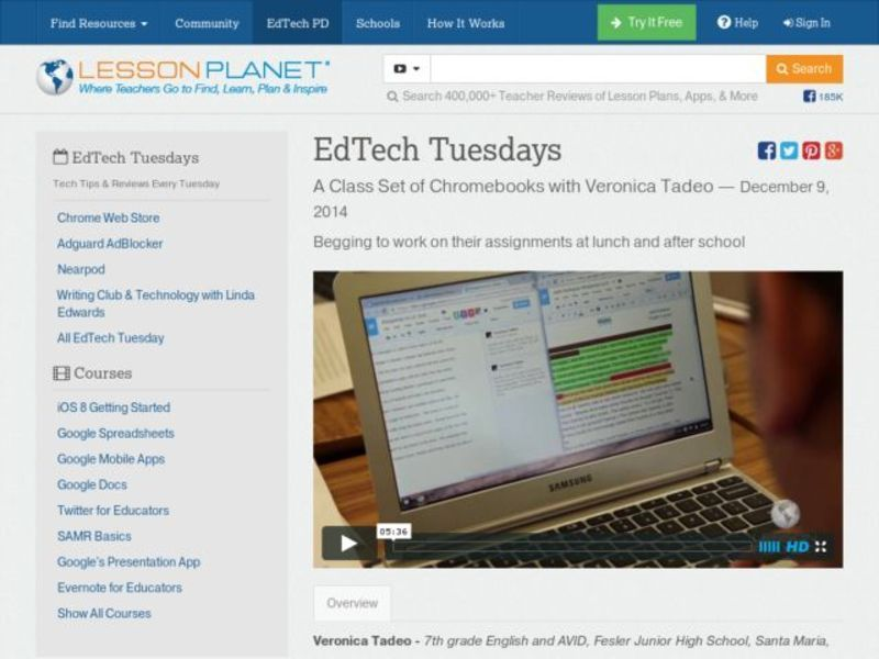 EdTech Tuesdays: A Class Set of Chromebooks with Veronica Tadeo Video