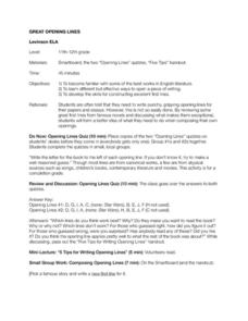 Great Opening Lines Lesson Plan