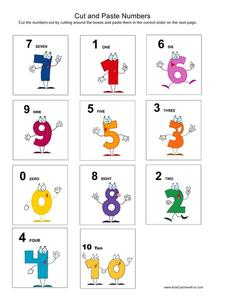 Cut and Paste Numbers Worksheet