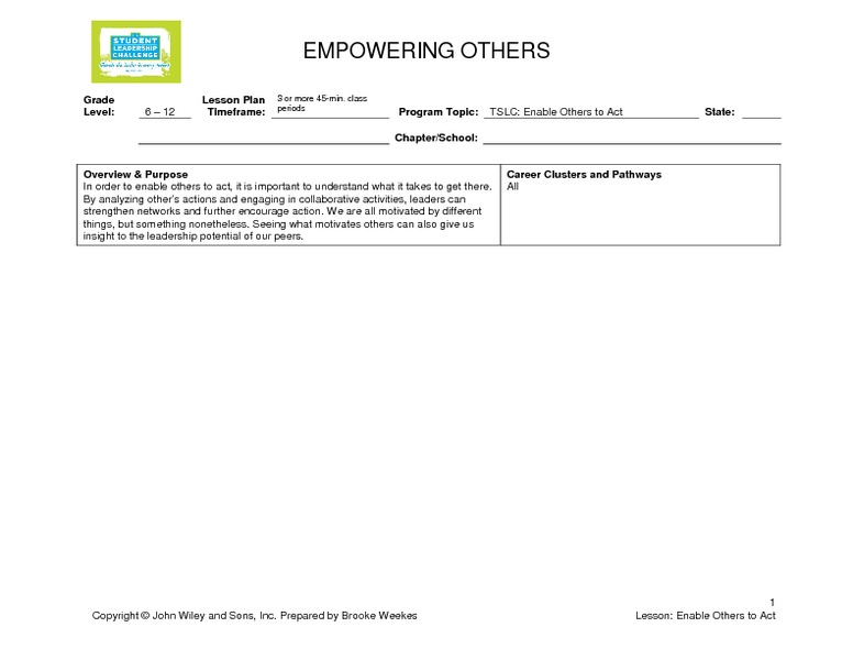 Empowering Others Lesson Plan