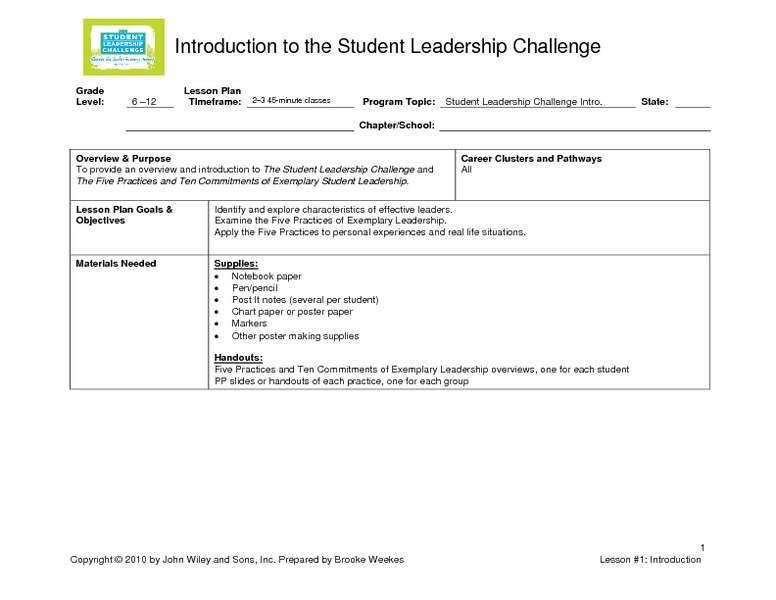 Introduction to the Student Leadership Challenge Lesson Plan