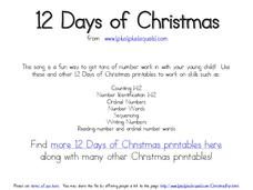 12 Days of Christmas 12 days of Christmas, Christmas, number sequence, numbers Worksheet