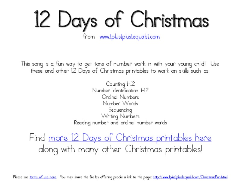 numbers worksheet 12 days of christmas 12 days of christmas christmas number sequence numbers worksheet