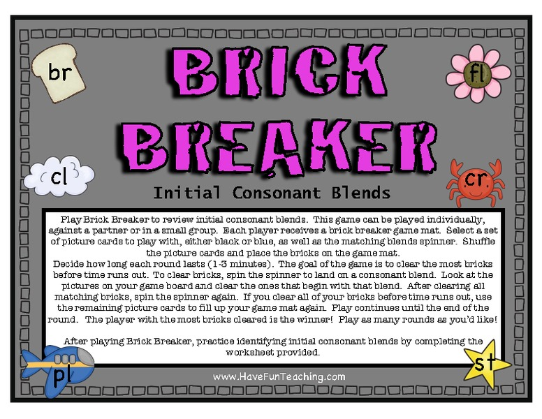 Brick Breaker: Initial Consonant Blends Activities & Project