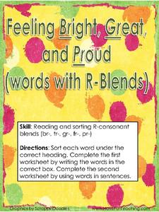 Feeling Bright, Green and Proud (words with R-Blends) Activities & Project