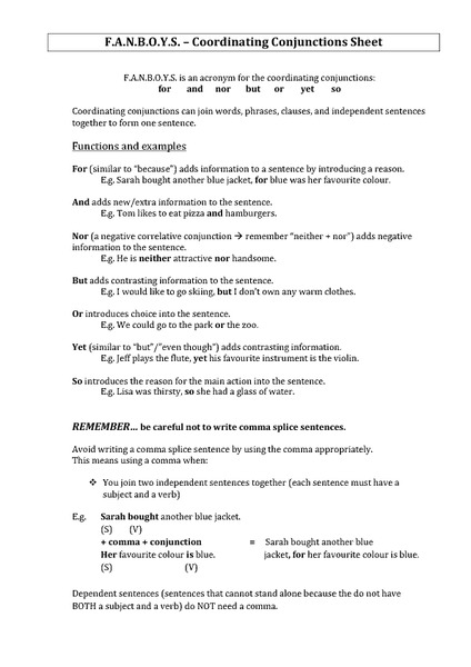 F A N B O Y S Coordinating Conjunctions Sheet Handouts