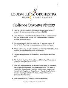 audience etiquette activity worksheet for 1st 6th grade lesson planet. Black Bedroom Furniture Sets. Home Design Ideas