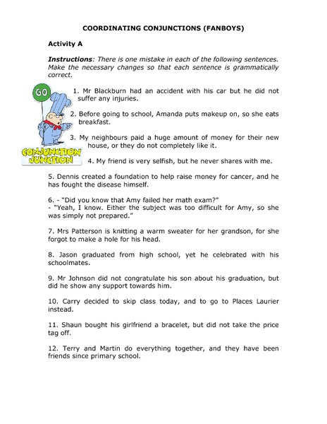 Coordinating Conjunctions Fanboys Worksheet For 4th