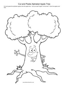 Cut and Paste Alphabet Apple Tree Worksheet for Pre-K