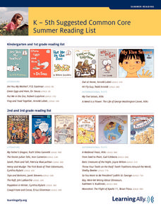 Common Core Summer Reading List Handouts & Reference