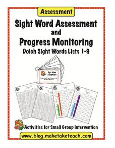 Sight Word Assessment and Progress Monitoring Worksheet