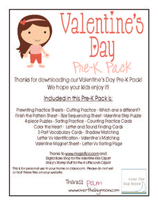 Valentines' Day Pre-K Pack Printables & Template