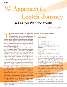We Approach the Lenten Journey Activities & Project