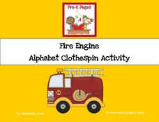 Fire Engine Alphabet Clothespin Activity Activities & Project