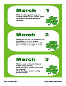 March Journal Prompts Writing Prompt For 2nd 7th Grade Lesson Planet