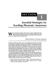 Essential Strategies for Teaching Phonemic Awareness Activities & Project