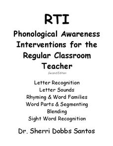 Phonological Awareness Interventions for the Regular Classroom Teacher Unit