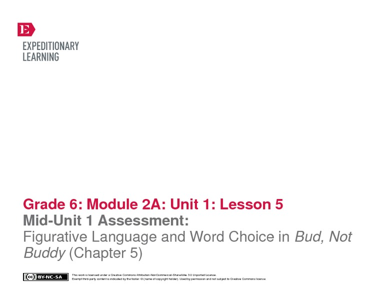 Mid-Unit 1 Assessment: Figurative Language and Word Choice in Bud, Not Buddy Lesson Plan