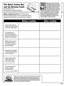 The Magic School Bus And Missing Tooth Graphic Organizer