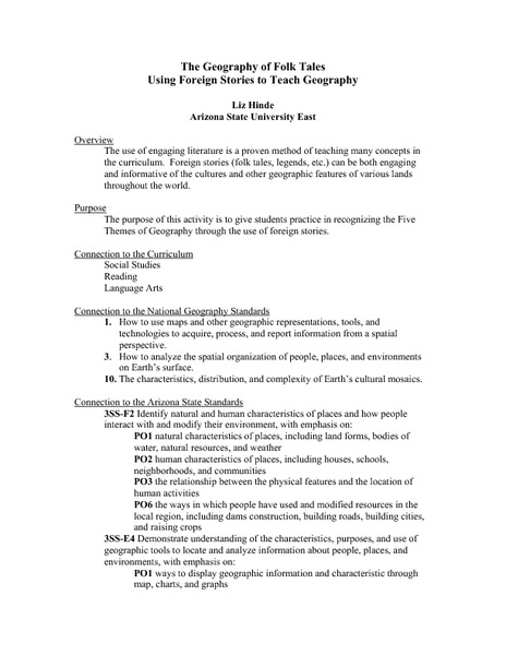 The Geography of Folk Tales 3rd - 5th Grade Lesson Plan | Lesson ...