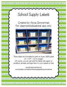 School Supply Labels Printables & Template