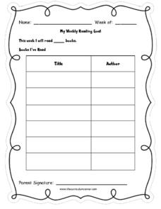 graphic regarding Weekly Reading Log Printable referred to as Weekly Different Examining Log Printables Template for Pre