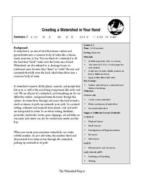 Creating a Watershed in Your Hand Lesson Plan