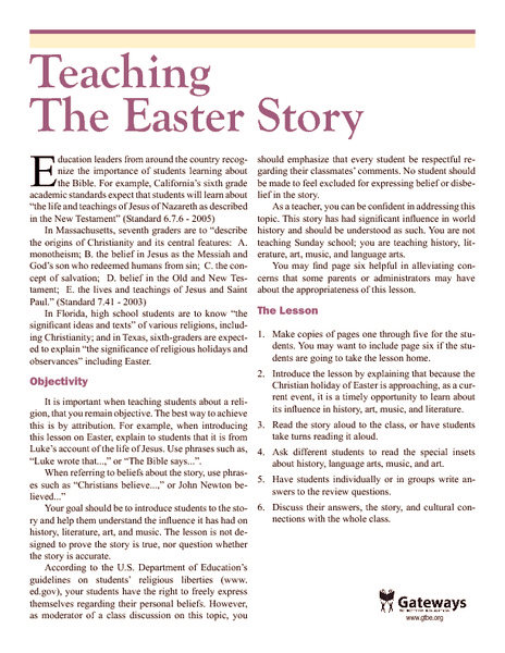 Teaching the Easter Story Handouts & Reference