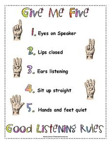 picture regarding Give Me Five Poster Printable Free referred to as Provide Me 5 Poster (Positive Listening Guidelines) Printables